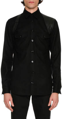 Alexander McQueen Wool Flannel Shirt with Leather Harness, Black
