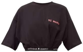 Natasha Zinko Logo Jacquard Hemmed Cotton T Shirt - Womens - Black