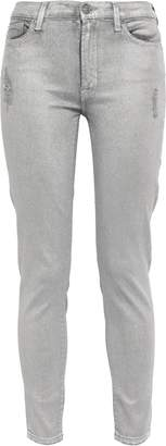 7 For All Mankind Distressed Coated Mid-rise Slim-leg Jeans