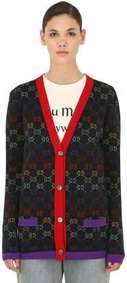 Gucci Logo Intarsia Wool Knit Cardigan