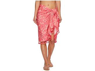 San Diego Hat Company BSS1808 Woven Flamingo Print Sarong Cover-Up