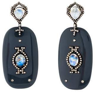 Rina Limor Fine Jewelry Moonstone Labradorite, Diamond & Bakelite Drop Earrings