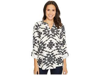Tribal Long Sleeve Blouse w/ Roll Up Sleeve and Beading Detail Women's Blouse