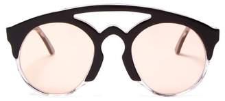 Marques Almeida Marques'almeida - Half Frame Acetate Aviator Sunglasses - Womens - Pink Multi