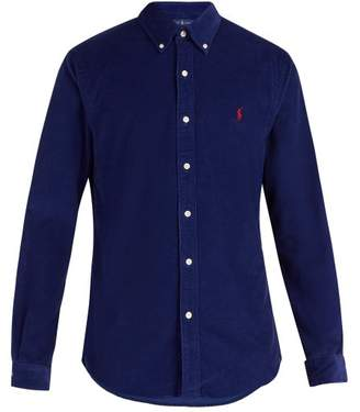 Polo Ralph Lauren Logo Embroidered Cotton Corduroy Shirt - Mens - Blue