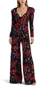 Rebecca de Ravenel Women's Floral Silk Wide-Leg Jumpsuit - Black Pat.