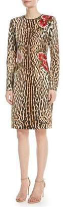 Naeem Khan NK32 Leopard Sheath Dress w/ Floral Appliqué