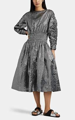 Noir Kei Ninomiya Women's Metallic-Gingham Midi-Dress - Black