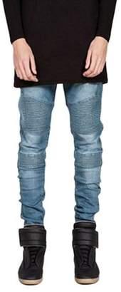 Openyourheart Trendy Designed Straight Pants Casual Men Jeans Slim Elastic Denim Trousers