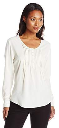 Dockers Women's Long-Sleeve Pullover Pintuck Blouse $16.64 thestylecure.com