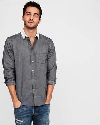 Express Slim White Collar Oxford Shirt