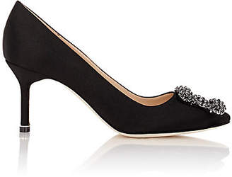 Manolo Blahnik Women's Hangisi Satin Pumps - Black Satin Orblk02