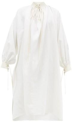 Jil Sander Drawstring Collar Linen Dress - Womens - Ivory