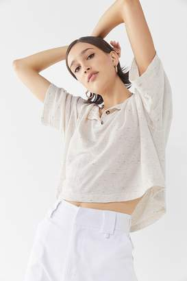 Truly Madly Deeply Short Sleeve Henley Cropped Top