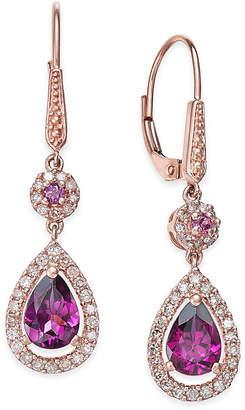 Macy's Rhodolite Garnet (1-1/2 ct. t.w.) and Diamond (1/3 ct. t.w.) Drop Earrings in 14k Rose Gold