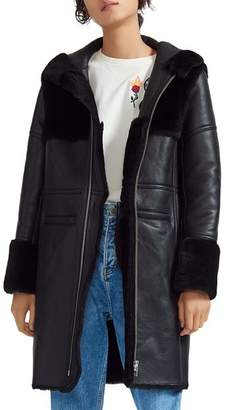 Maje Gwette Real Sheep Shearling-Detail Leather Coat