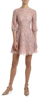 Valentino 3/4-Sleeve Heavy Lace Dress