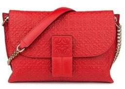 Loewe Avenue Embossed Leather Chain Shoulder Bag