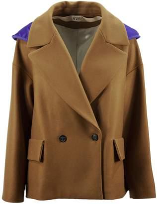 N°21 N.21 Brown Wool Coat With Purple Satin Hood.
