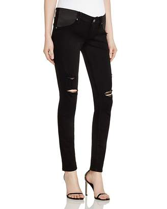 Paige Denim Verdugo Skinny Maternity Jeans in Black Shadow Destructed $209 thestylecure.com