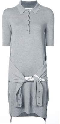 Thom Browne 2-In-1 Cardigan Polo Dress In Light Grey Fine Merino Wool