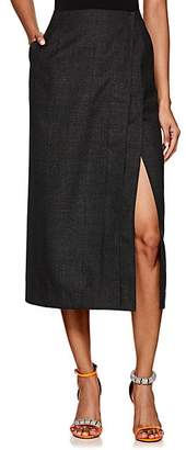 Calvin Klein Women's Checked Worsted Wool Wrap Skirt - Gray