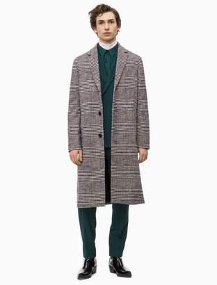 Calvin Klein cotton wool check coat