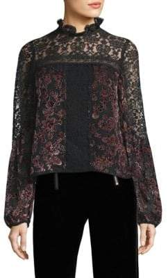 Nanette Lepore Obsession Devore Velvet & Lace Top
