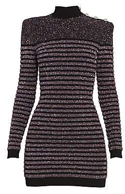 Balmain Women's Short Long Sleeve Highneck Glitter Dress
