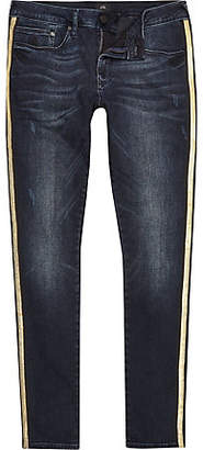 River Island Big and Tall blue tape super skinny jeans
