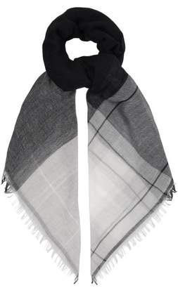 Max Mara Wool And Cotton Blend Checked Scarf - Womens - Blue
