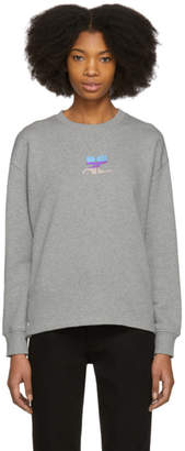 Courreges Grey Snapped Logo Sweatshirt