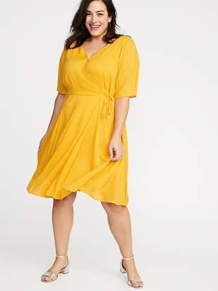 02f241e09e08 Old Navy Faux-Wrap Waist-Defined Plus-Size Dress