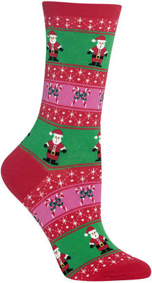 Hot Sox Women's Santa Fair Isle Crew Socks