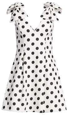 Zimmermann Women's Corsage Polka Dot Bow Shoulder Dress - Ivory Black - Size 1 (4-6)