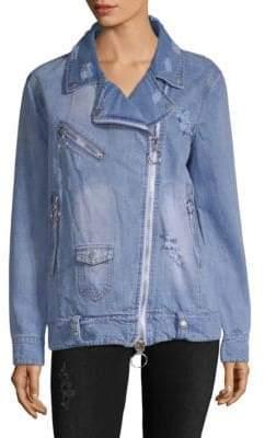 Bagatelle Distressed Denim Moto Jacket