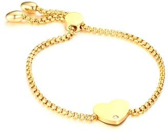 Charm & Chain Mealguet Jewelry 18k Gold Plated Stainless Steel Heart Love Charm Chain Lariat Bracelets for Women Girls