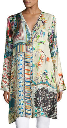 Johnny Was Silverette Long Silk Button-Front Cardigan $255 thestylecure.com