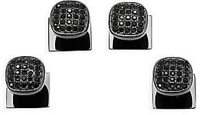 Cufflinks Inc. Cufflinks, Inc. Men's Ox & Bull Trading Co. 4-Piece Black Stainless Steel & Black Pave Crystal Studs