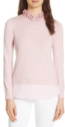 Ted Baker Nansea Floral Collar Tiered Hem Sweater