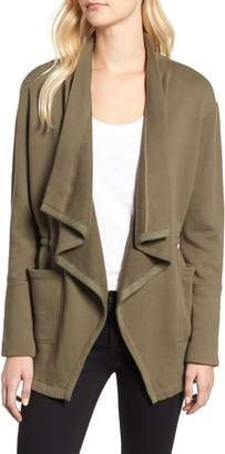 Caslon Asymmetrical Drape Collar Terry Jacket