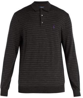 Polo Ralph Lauren - Striped Long Sleeved Wool Polo Shirt - Mens - Grey Multi