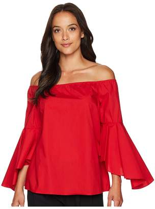 Tahari ASL Off the Shoulder Blouse with Tulip Bell Sleeve Women's Clothing