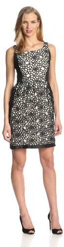 Isaac Mizrahi New York Women's Lace Fit and Flare with Ponte Inserts Dress