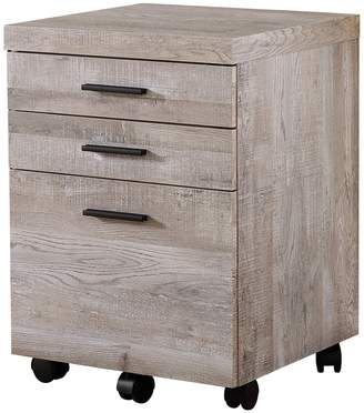 Monarch Specialties Taupe Wood Grain 3-Drawer Filing Cabinet
