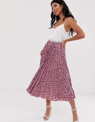Asos Design DESIGN satin pleated midi skirt in colored leopard