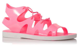 George Pink Lace-up Jelly Sandals