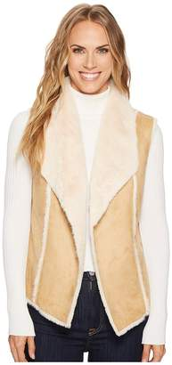Tribal Faux Fur Vest w/ Shawl Collar Back Women's Vest