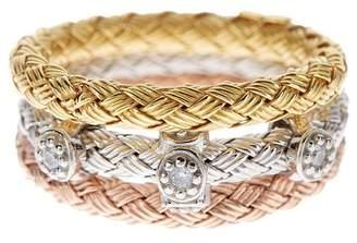 Savvy Cie 18K Braided Tri-Tone Vermeil Swarvoski Crystal Accented Stacked Rings