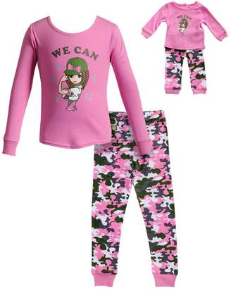 """Dollie & Me Girls 4-14 We Can"""" Girl Camouflaged Top & Bottoms Pajama Set"""